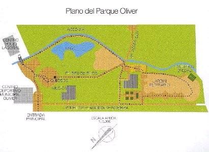 Plano de localización del Parque Oliver de Zaragoza